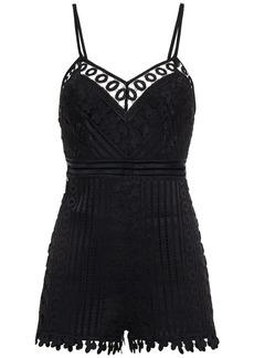 Charo Ruiz Ibiza Woman Kaido Crocheted Lace Playsuit Black