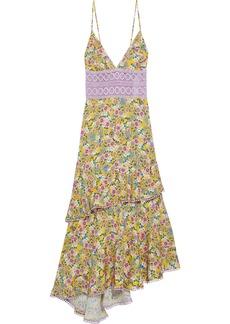 Charo Ruiz Ibiza Woman Mara Tiered Crocheted Lace-paneled Floral-print Voile Midi Dress Yellow