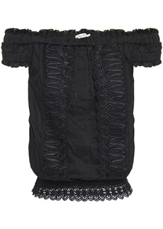 Charo Ruiz Ibiza Woman Tiana Off-the-shoulder Crocheted Lace-paneled Cotton-blend Voile Top Black