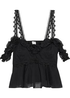 Charo Ruiz Ibiza Woman Sandra Cropped Cold-shoulder Cotton-blend Voile Peplum Top Black