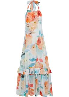Charo Ruiz Ibiza Woman Shaty Tiered Floral-print Georgette Halterneck Maxi Dress Multicolor