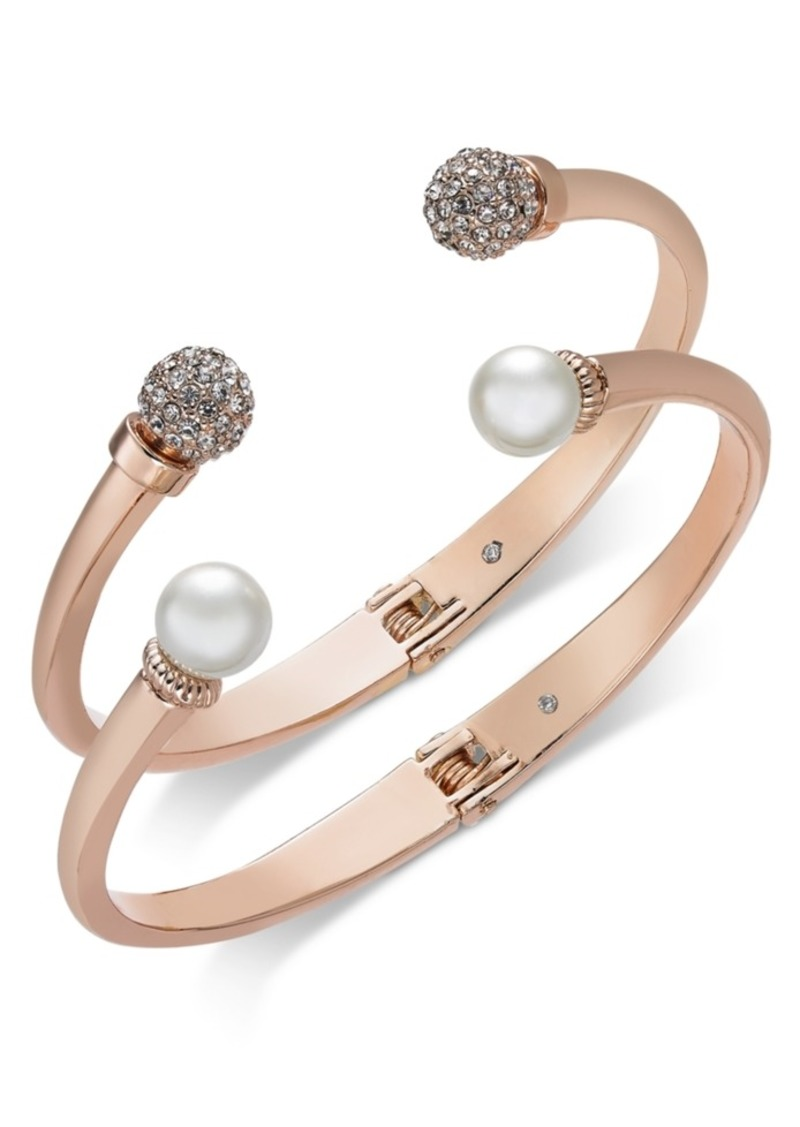 Charter Club 2-Pc. Set Pave Bead & Imitation Pearl Cuff Bracelets, Created for Macy's
