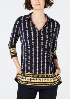 Charter Club 3/4-Sleeve Printed Border Top, Created for Macy's