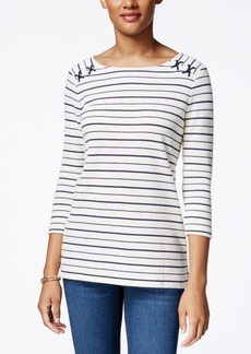 Charter Club 3/4 Sleeve Stripe Pique Top With Shoulder Rope, Only at Macy's