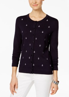 Charter Club Anchor-Embroidered Cardigan, Only at Macy's
