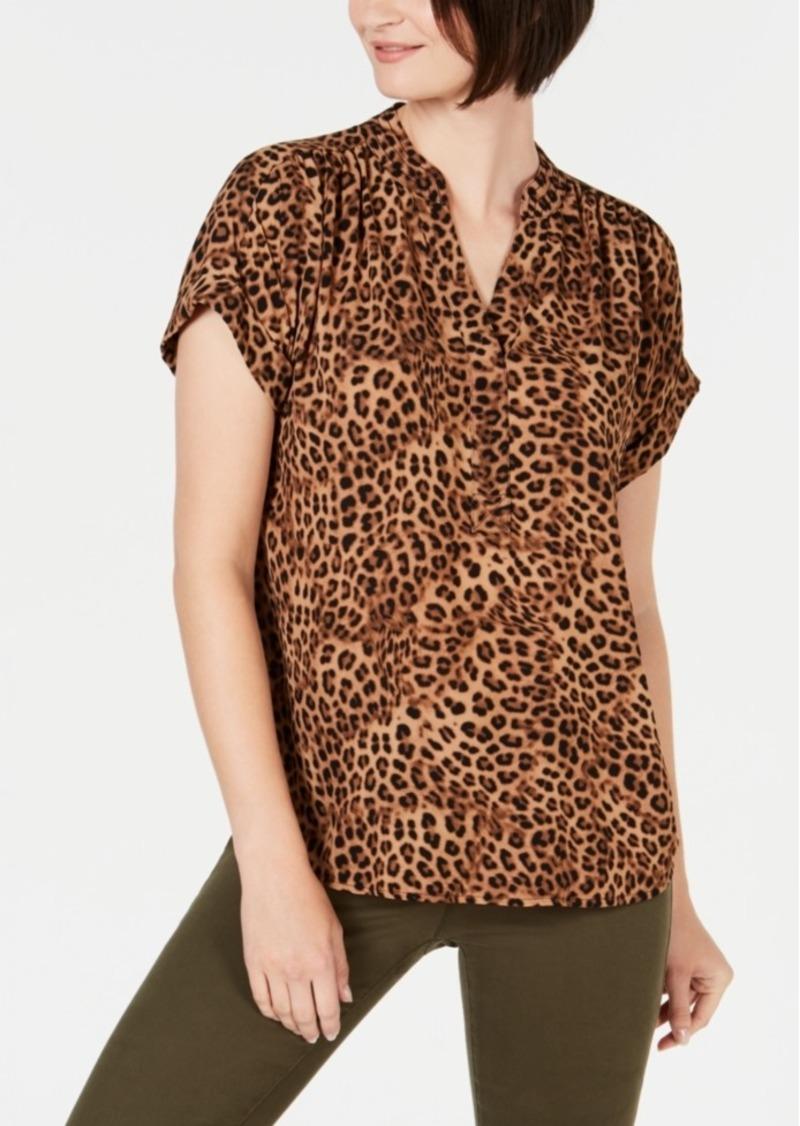 Charter Club Animal-Print Short-Sleeve Shirt, Created for Macy's