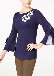 Charter Club Applique Contrast Sweater, Created for Macy's