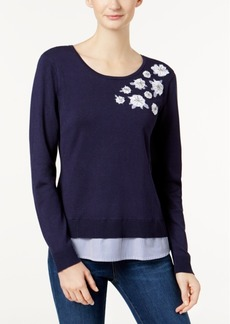 Charter Club Applique Layered-Look Sweater, Created for Macy's