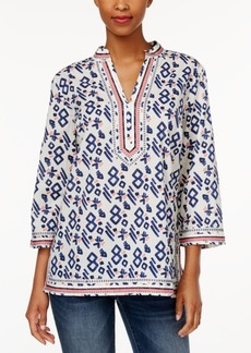 Charter Club Aztec-Print Embroidered Tunic, Only at Macy's