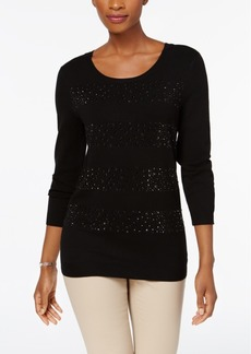 Charter Club Beaded-Stripe Sweater, Created for Macy's
