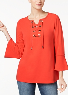 Charter Club Bell-Sleeve Lace-Up Top, Created for Macy's