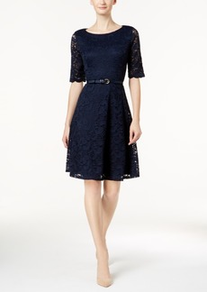Charter Club Petite Belted Lace Dress, Created for Macy's