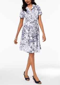 Charter Club Belted Short-Sleeve Shirtdress, Created for Macy's
