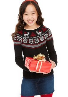 Charter Club Big Girls Fair Isle Family Sweater, Created For Macy's