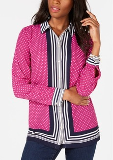 Charter Club Border-Stripe Dot-Print Blouse, Created for Macy's