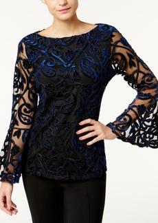 Charter Club Burnout Velvet Bell-Sleeve Blouse, Created for Macy's