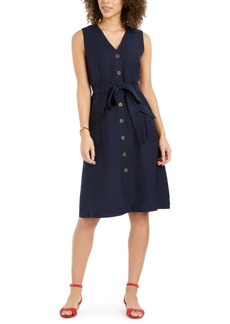 Charter Club Linen-Blend Button-Front Dress, Created for Macy's