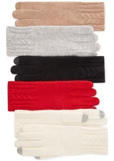 Charter Club Cable Cashmere Tech Gloves, Only at Macy's