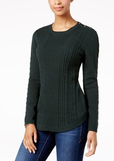 Charter Club Petite Cable-Knit Button-Detail Sweater, Created for Macy's