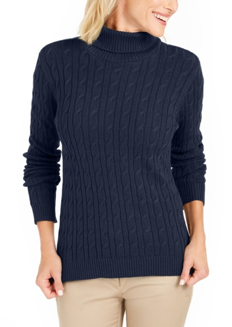 Charter Club Cable Turtleneck Sweater, Created For Macy's
