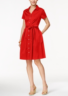 Charter Club Cap-Sleeve Belted Shirtdress, Only at Macy's
