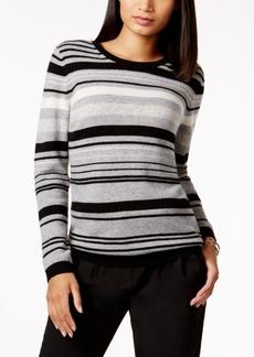 Charter Club Petite Cashmere Striped Sweater, Created for Macy's
