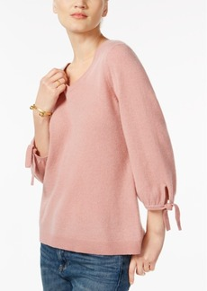 Charter Club Cashmere Tie-Sleeve Sweater, Created for Macy's