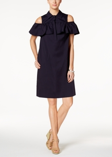 Charter Club Cold-Shoulder Button-Front Dress, Created for Macy's