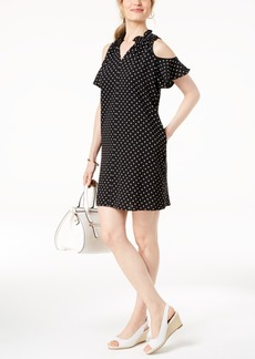 Charter Club Cold-Shoulder Polka-Dot Dress, Created for Macy's