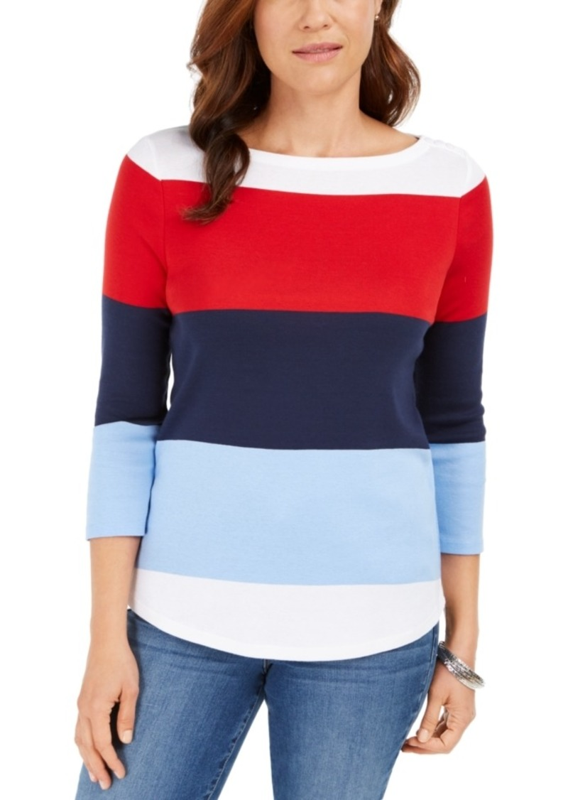 Charter Club Colorblocked Boat-Neck Top, Created For Macy's
