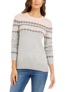 Charter Club Colorblocked Fair Isle Sweater, Created For Macy's
