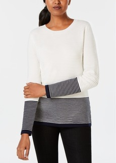Charter Club Petite Striped Colorblock Sweater, Created for Macy's