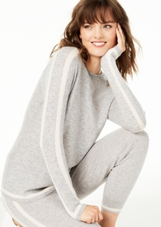 Charter Club Contrast-Striped Crewneck Cashmere Sweater, Created for Macy's