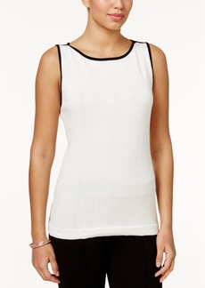 Charter Club Contrast-Trim Knit Tank Top, Only at Macy's