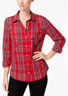 Charter Club Petite Cotton Plaid Shirt, Created for Macy's
