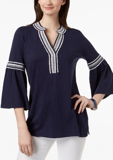 Charter Club Cotton Bell-Sleeve Peasant Top, Created for Macy's