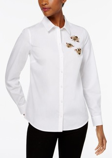 Charter Club Petite Cotton Embellished Bee Shirt, Created for Macy's