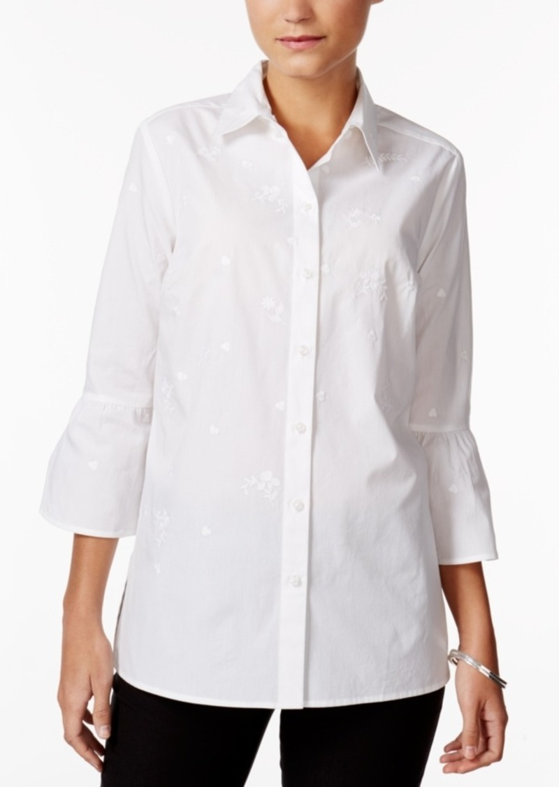 Sale charter club charter club cotton embroidered bell for Bell bottom sleeve shirt