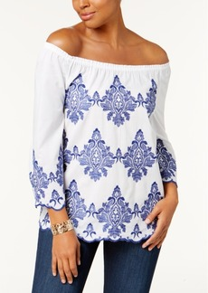 Charter Club Cotton Embroidered Off-The-Shoulder Top, Created for Macy's