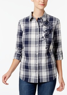 Charter Club Cotton Embroidered Plaid Shirt, Created for Macy's
