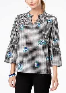 Charter Club Petite Cotton Embroidered Gingham Tunic, Created for Macy's