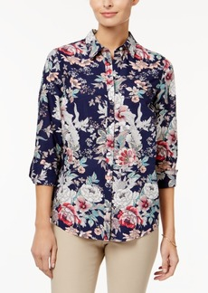 Charter Club Petite Cotton Floral-Print Roll-Tab Shirt, Only at Macy's