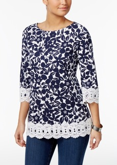 Charter Club Cotton Floral-Print Tunic, Only at Macy's