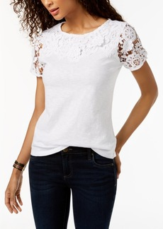 Charter Club Petite Cotton Floral-Applique Top, Created for Macy's
