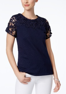 Charter Club Cotton Lace-Trim Top, Only at Macy's