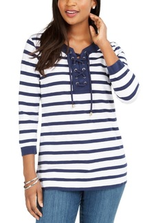 Charter Club Cotton Lace-Up Grommet-Neck Tunic, Created For Macy's