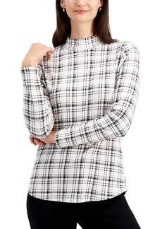 Charter Club Cotton Plaid Mock-Neck Top, Created for Macy's