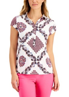 Charter Club Cotton Printed Polo Shirt, Created for Macy's