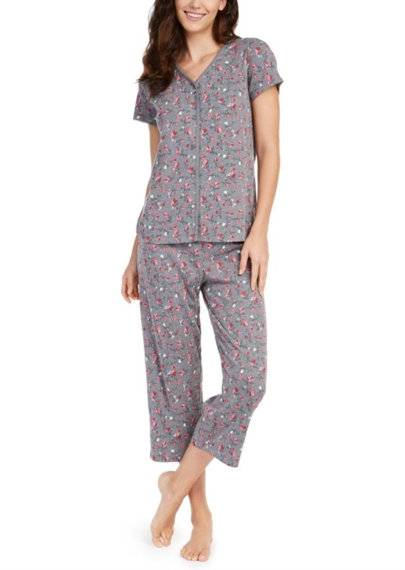 Charter Club Printed Short-Sleeve Top & Capri Pajama Pants Set, Created For Macy's