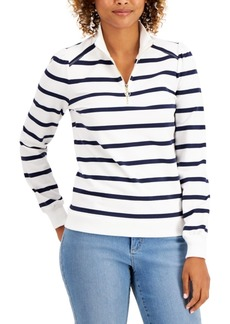 Charter Club Cotton Striped Zip-Neck Top, Created for Macy's
